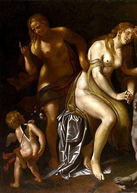 Alessandro Turchi - La morte di Adone (dettaglio) - nudo pittorico con figure infantili