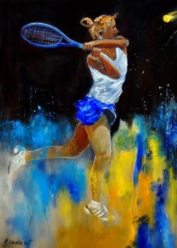 Mulher Jogando Tênis - Cores fortes e vibrantes nas pinturas de Pol Ledent