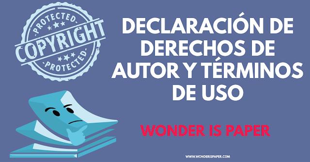 Declaración de derechos de autor y términos de uso