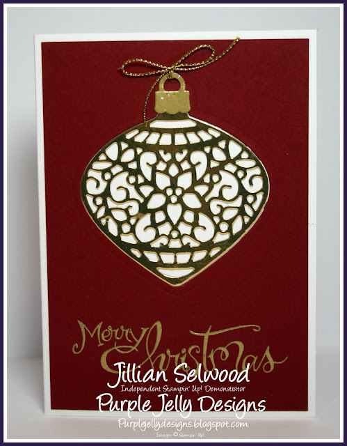 Gold foil card, Embellished Ornaments thinlets