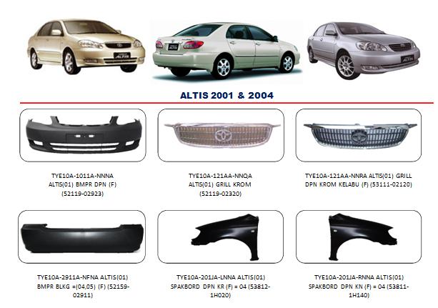 Bemper Toyota Altis 2001-2004