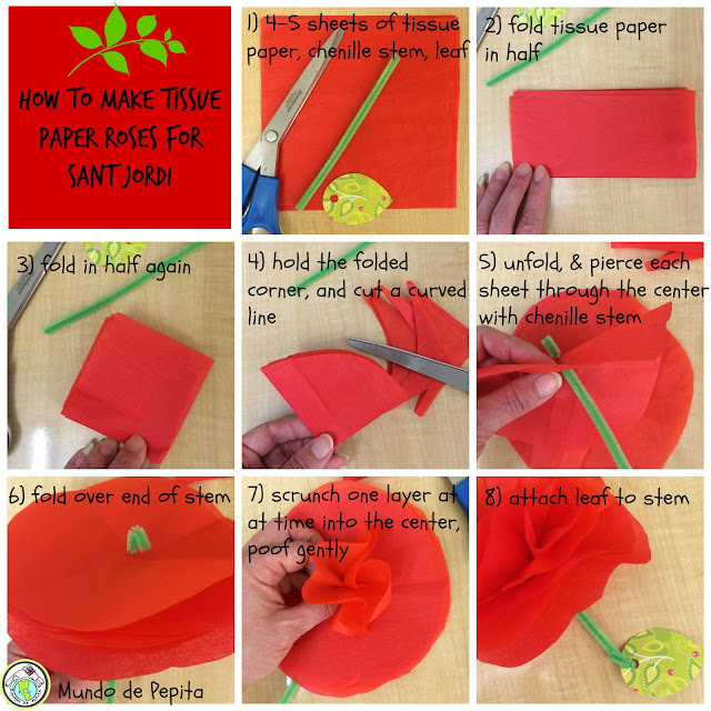 How to Make Tissue Paper Roses for Sant Jordi