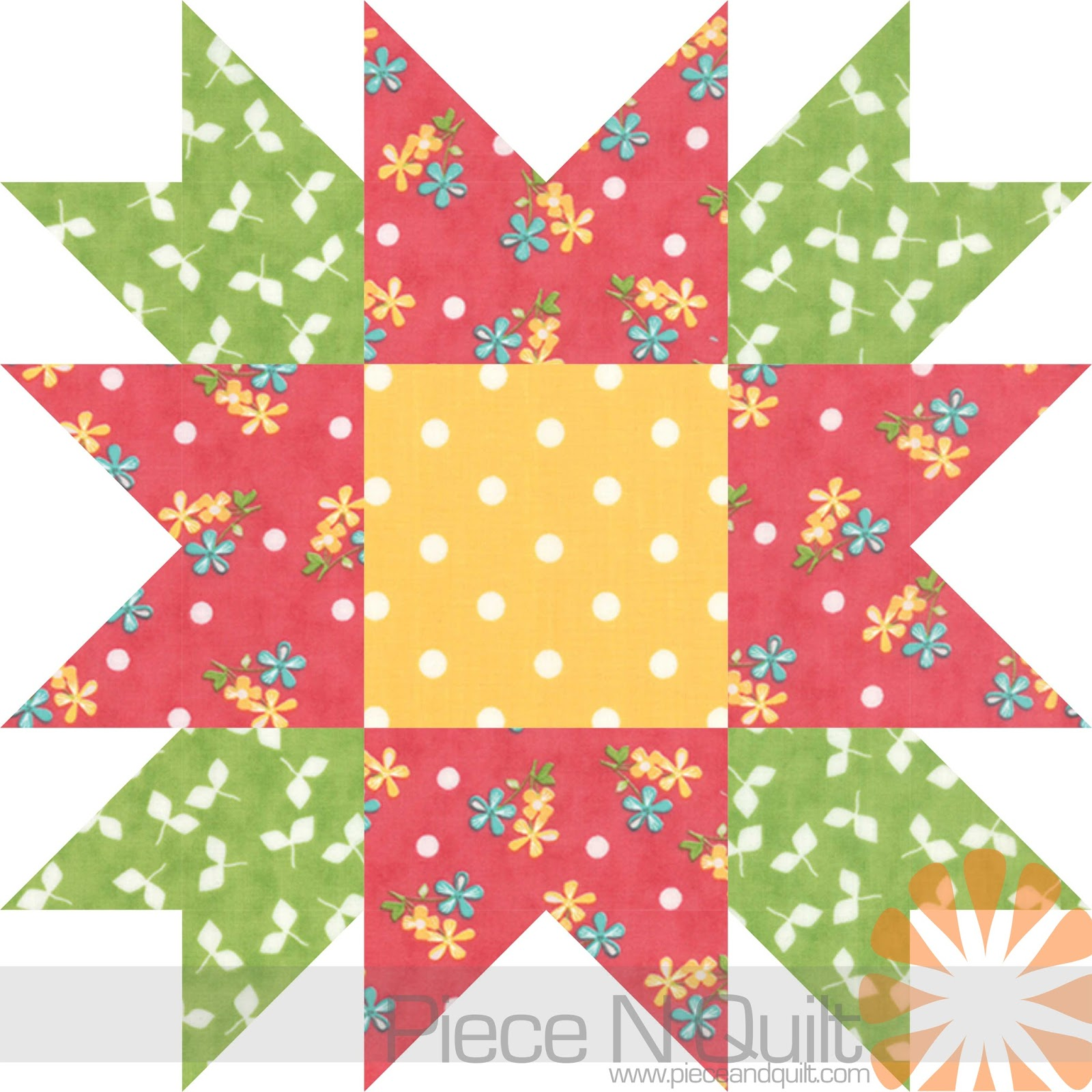 Free Star Flower Quilt Patterns : Piece N Quilt: Flower Star Quilt Pattern - The Battle Against Breast Cancer