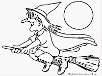 Flying Witches Happy Halloween Printable Kids Coloring Pages
