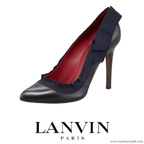 Crown Princess Mary Style Lanvin Grosgrain Trim Leather Pump