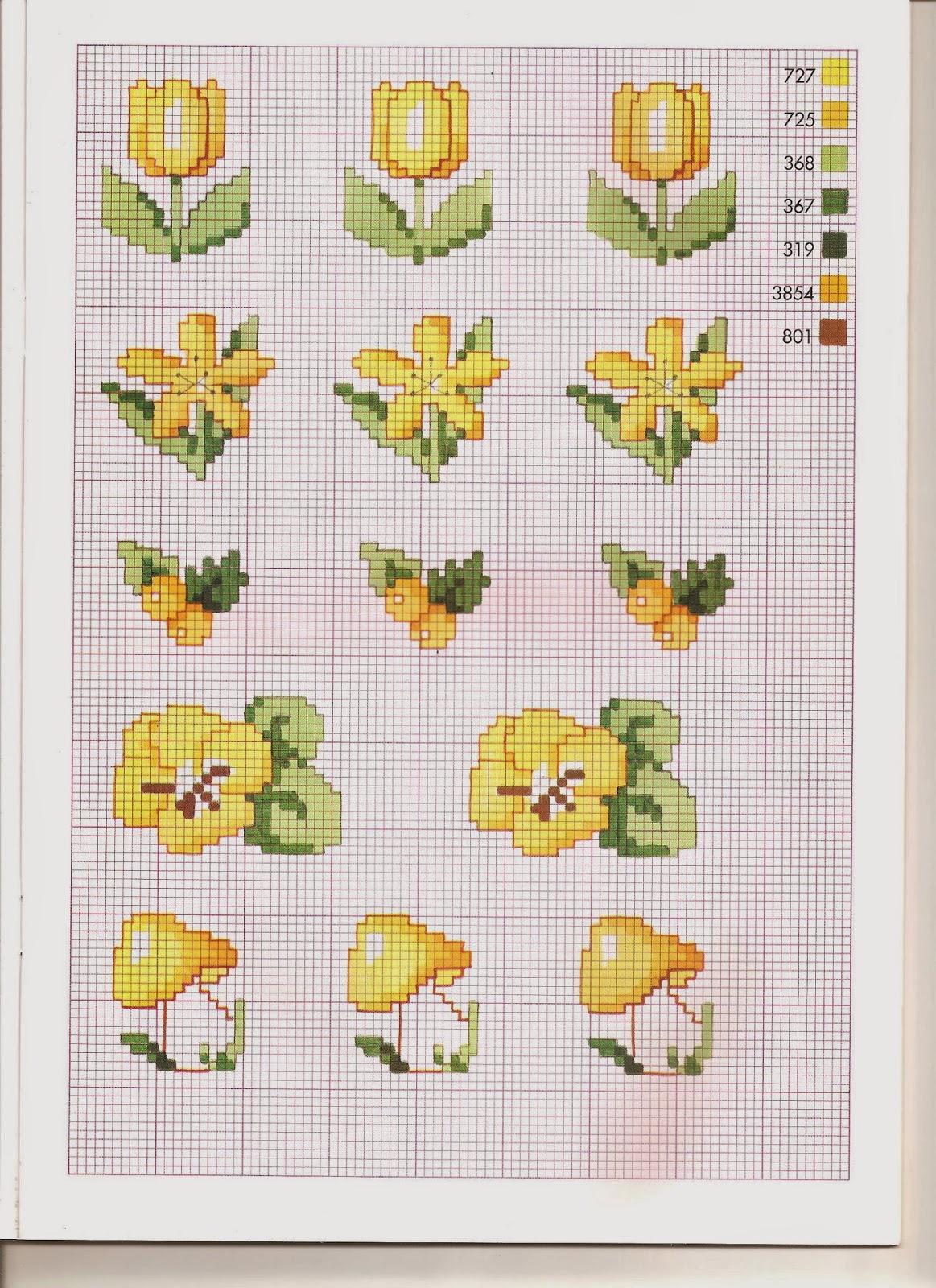 Grande raccolta di Schemi e grafici per Punto croce free Raccolta schemi fiori gialli a punto croce