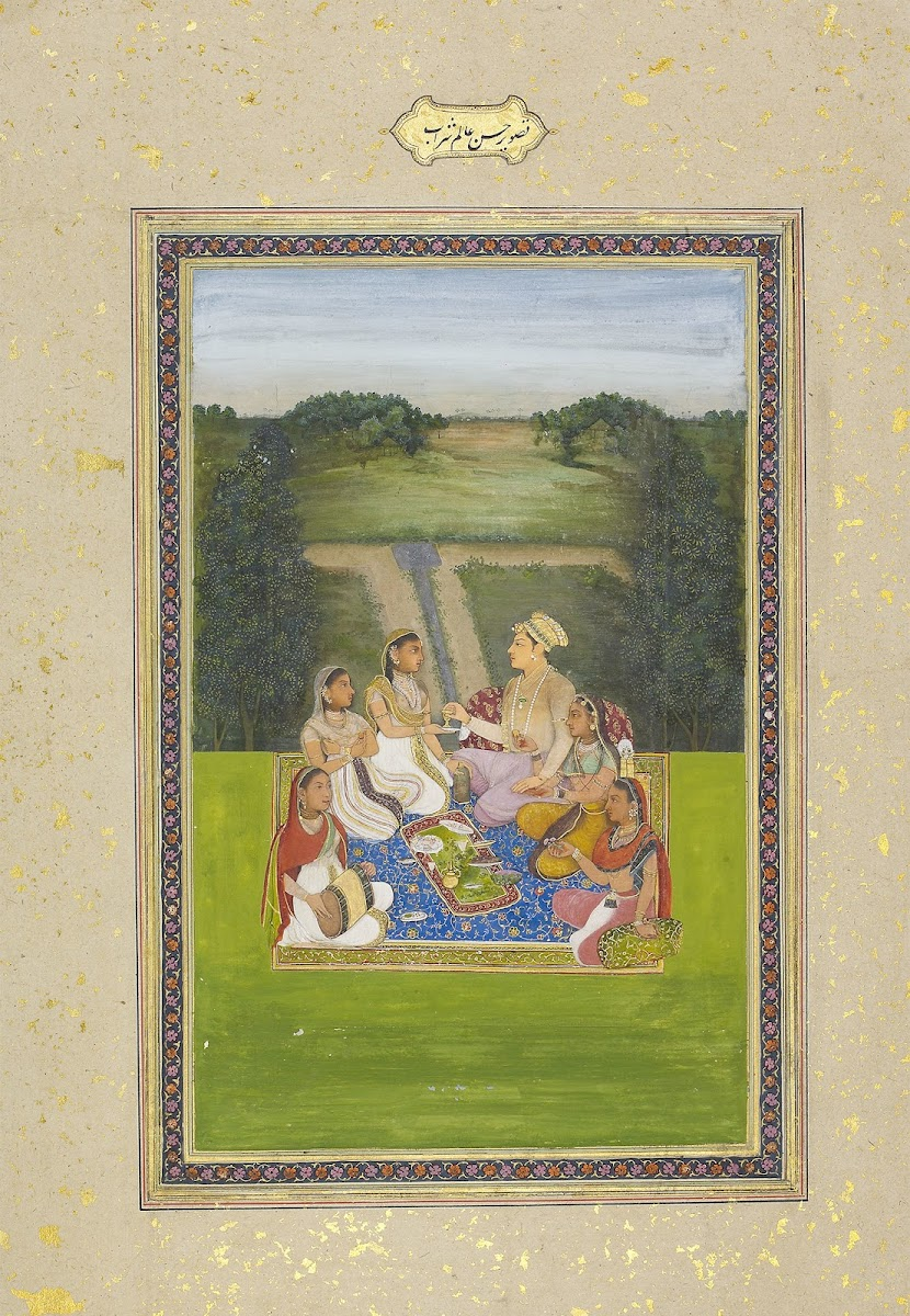A Prince Seated with Ladies in a Landscape - Mughal Painting, c. 1770