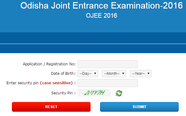 OJEE 2016 Admit Card Download Link
