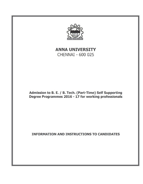 Anna University Part Time B.E/B.Tech Admission for 2017 - Registration Procedure