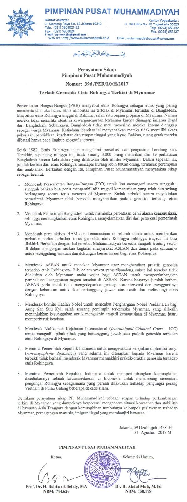 Pernyataan sikap PP Muhammadiyah tentang tragedi kemanusiaan yang dialami etnis Rohingya di Myanmar