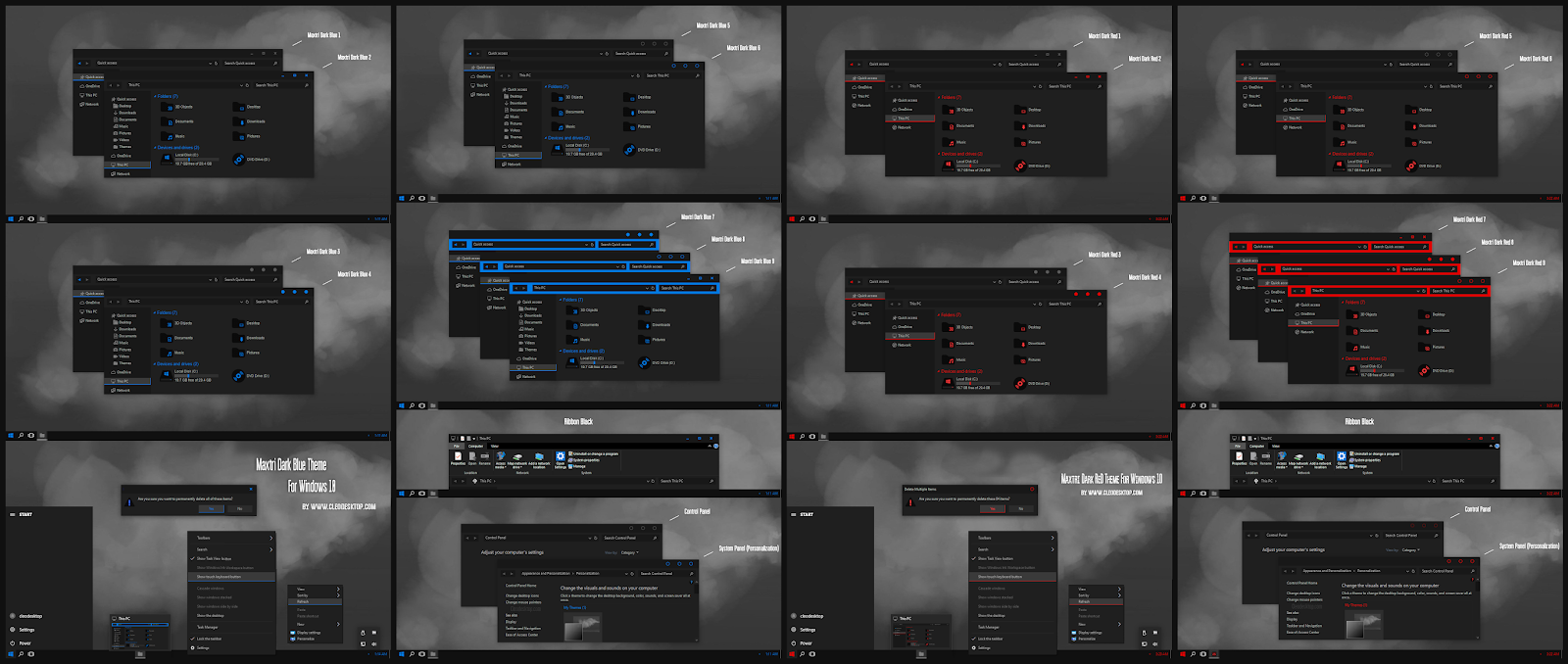Maxtri Dark Blue And Red Theme For Windows10 2004