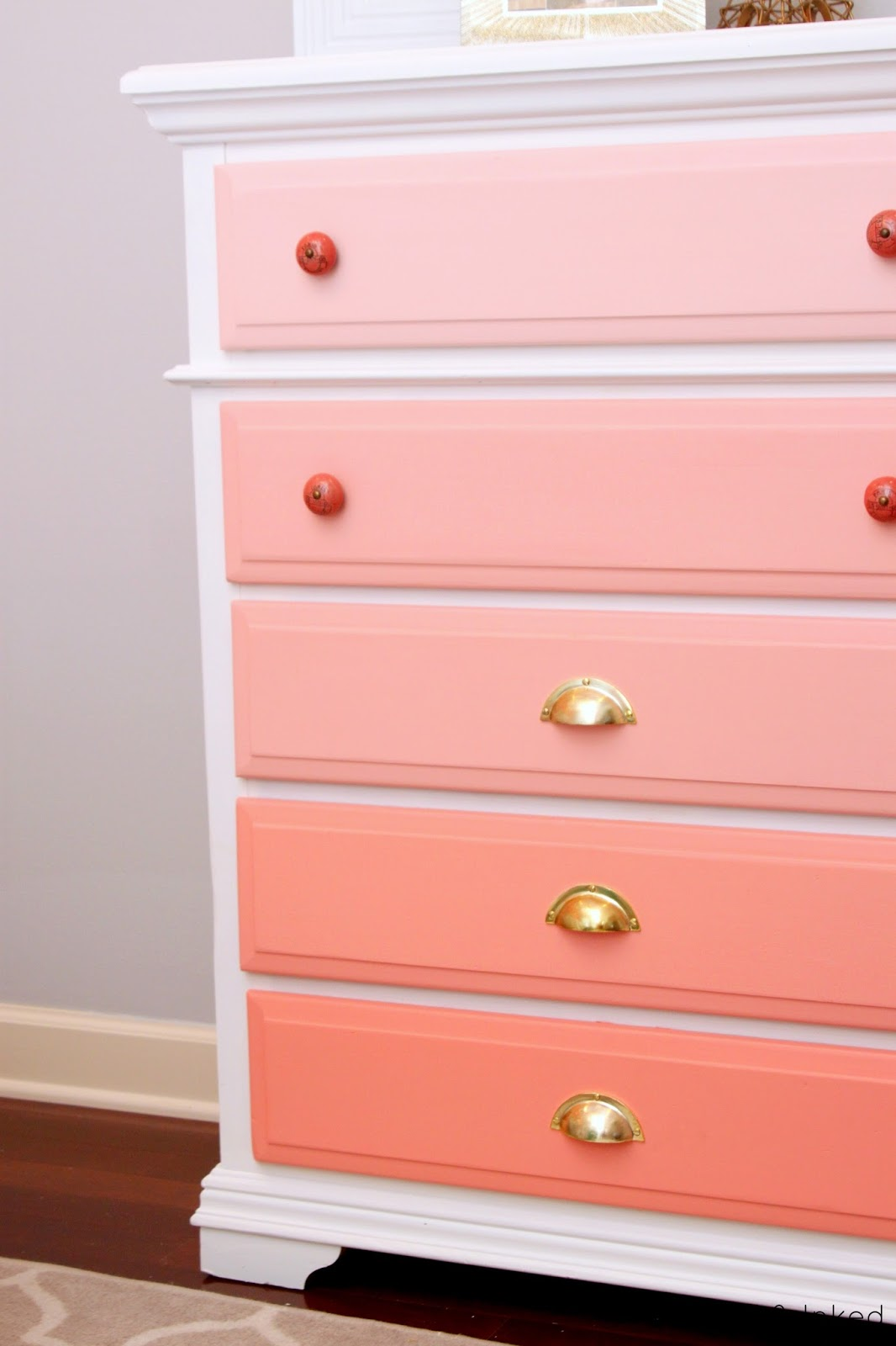 Coral Bedroom Paint Tattered And Inked Ombre Coral Dresser Makeover