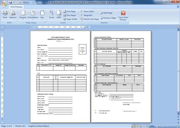 Contoh Format Administrasi Tenaga Pendidik PAUD TK RA