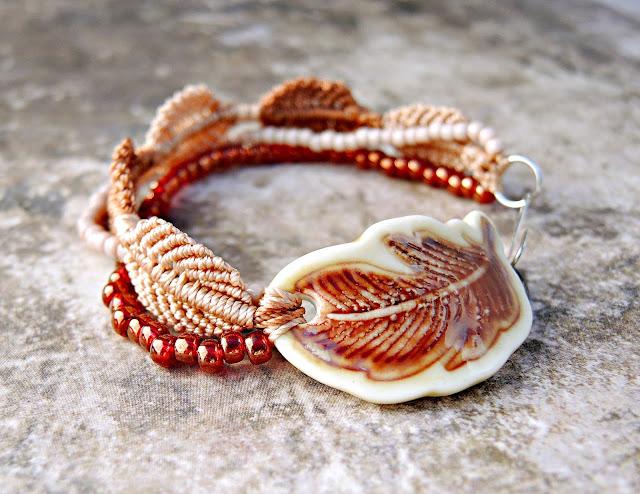 Micro macrame bracelet by Sherri Stokey of Knot Just Macrame.