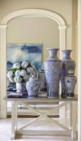 Tall Blue White Vases Annnndddd Hydrangeas I Ll Take It