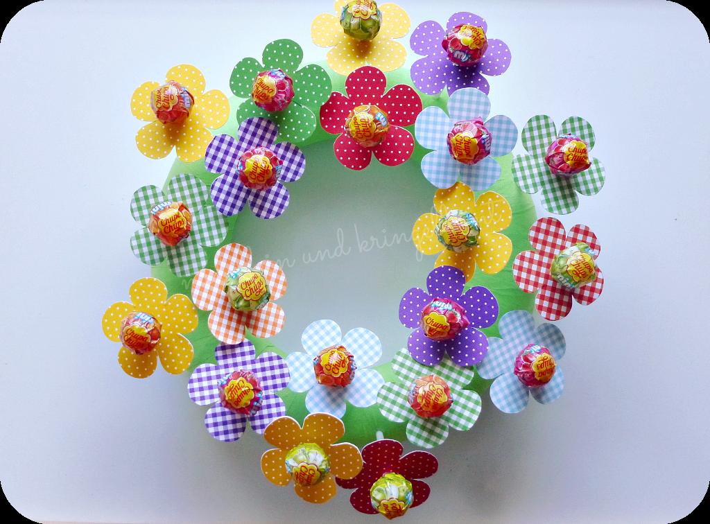 Lolliblumen aus Motivkarton