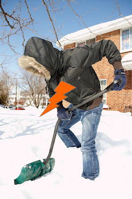 Man about to have a heart attack from shoveling snow
