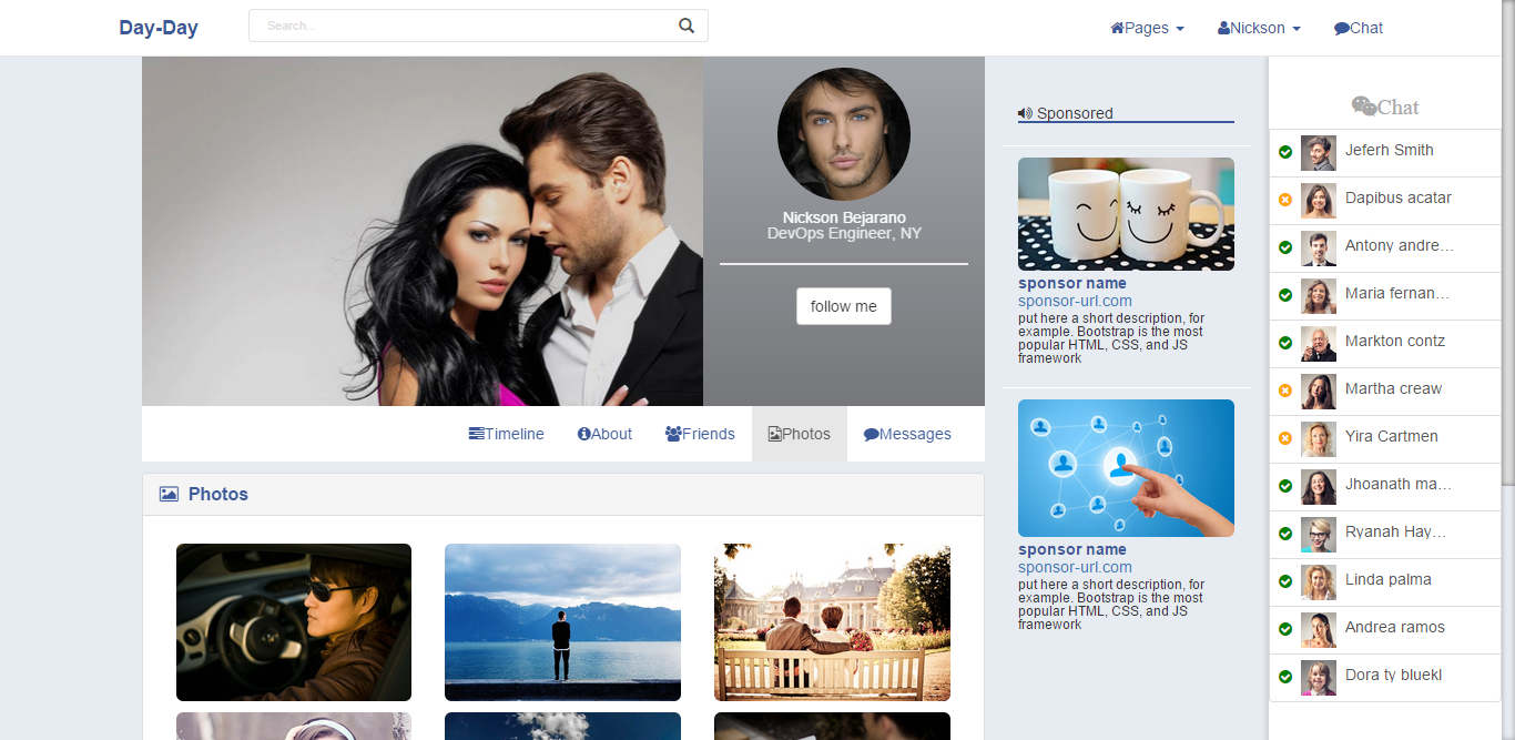 social networking sites templates php - bootdey day day bootstrap social network template like