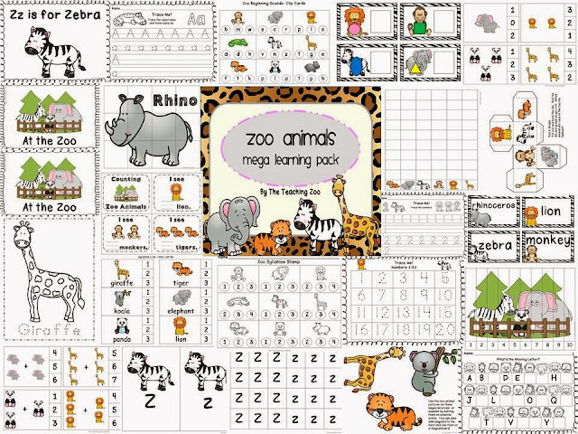 http://www.teacherspayteachers.com/Product/Zoo-Animals-Theme-MEGA-Learning-Pack-1343518