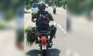 Foto Anggota TNI Bawa 'Parjo' Usai Ngantor Jadi Viral, Netizen Angkat Topi