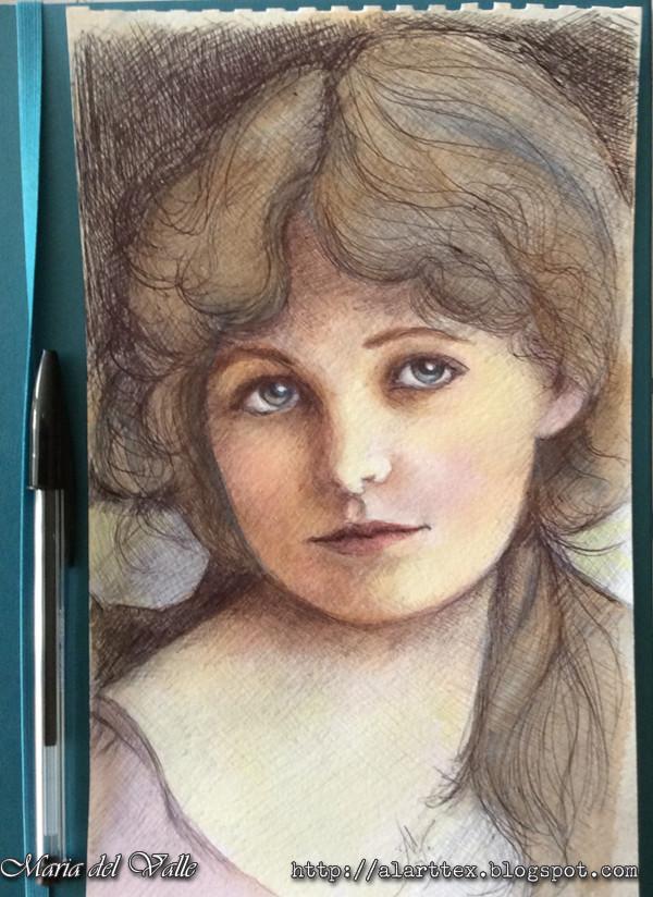 Watercolor and ballpen girl