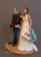 decorazioni torta nuziale cake topper personalizzato sposa moda sposo subacqueo orme magiche