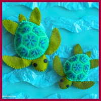 Preciosas tortugas en fieltro