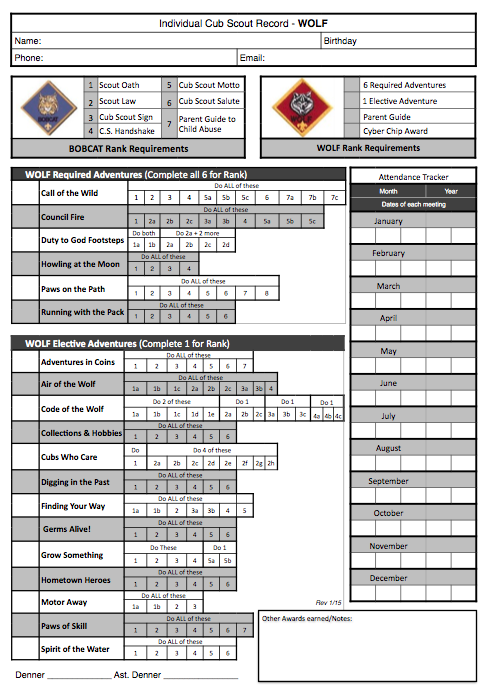 Original cub scout wolf printable record tracking and organization work sheet for the new program free with adventures cyber chip award also akela   council leader training rh akelascouncilspot