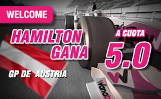 wanabet supercuota 5 Hamilton gana F1 Austria + 150 euros codigo JRVM 3 julio