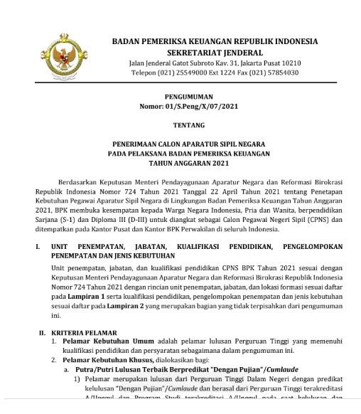 Lowongan Kerja CPNS Badan Pemeriksa Keuangan RI Tahun Anggaran 2021