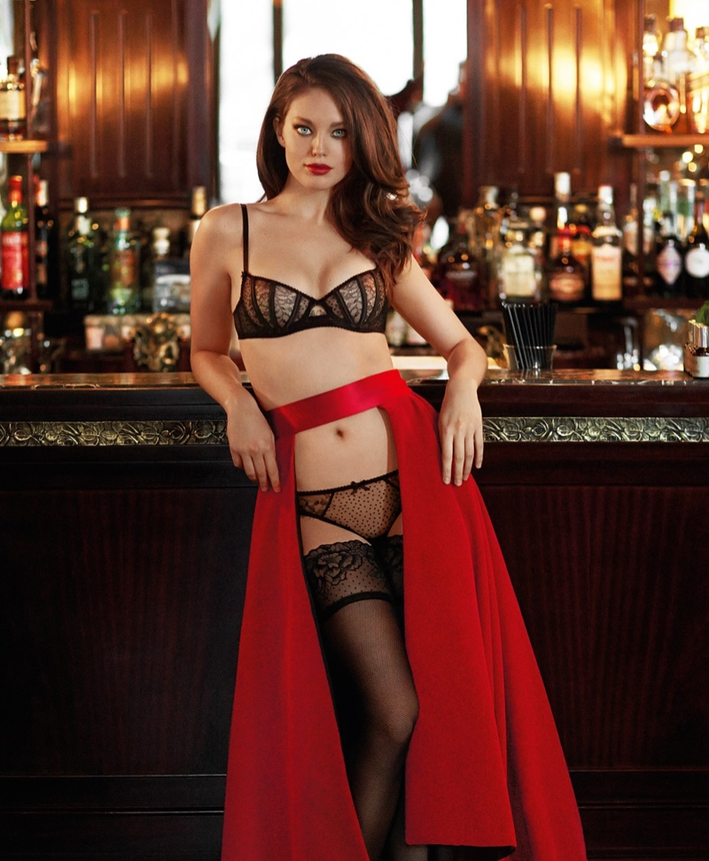 Emily DiDonato models Yamamay Fancy Move balconette bra and Brazilian briefs in flocked tulle