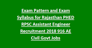 Exam Pattern and Exam Syllabus for Rajasthan PHED RPSC Assistant Engineer Recruitment 2018 916 AE Civil Govt Jobs