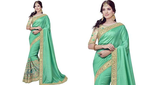 SareeShop Self Design Bollywood Georgette, Net Saree  (Light Green)
