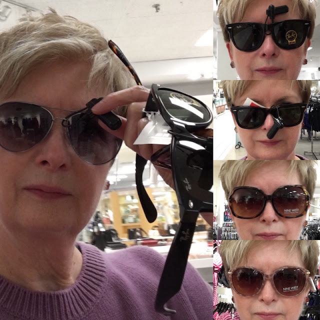 a collage of pictures of woman in different styles of sunglasses