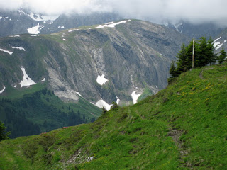 Patches of snow on nearby cliffs, AlpRundweg Leiterli trail, Lenk, Switzerland