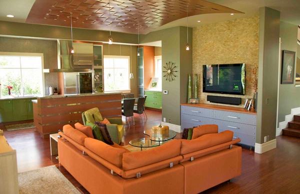 Ruang tamu eksotis bertema jingga atau orange kursinya