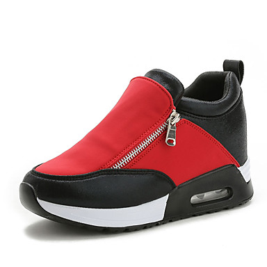 Women's Shoes Synthetic Spring / Fall Comfort Sneakers Walking Shoes Flat Heel Zipper Black / Silver / Red