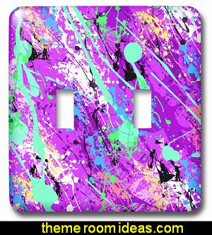 Purple Paint Splatter Design Double Toggle Switch  Splatter Paint Bedroom ideas -  splatter paint bedding - splatter paint theme bedroom decorating ideas - paint splatter decorations - Splatter paint rugs -  Splatter paint throw pillows - art bedrooms - splatter paint bedrooms