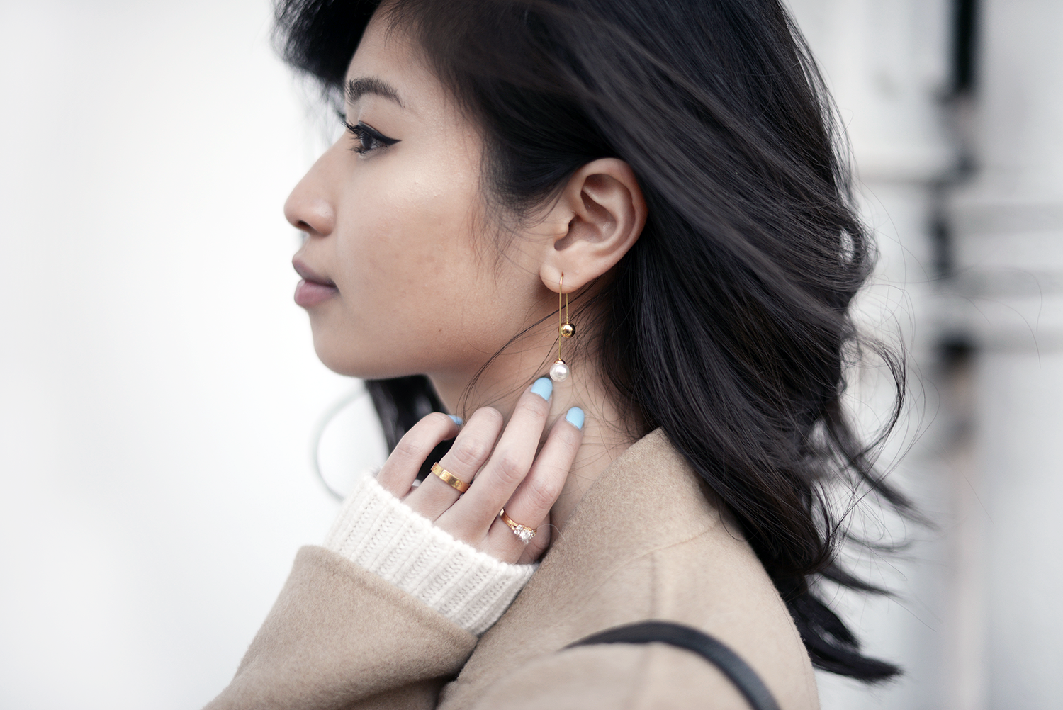 Pearl Earrings with Camel Coat and One Shoulder Sweater | FOREVERVANNY.com