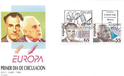 Sobre PDC de los sellos de la serie Europa, dedicados a Severo Ochoa y Miguel Ángel Catalán en 1994