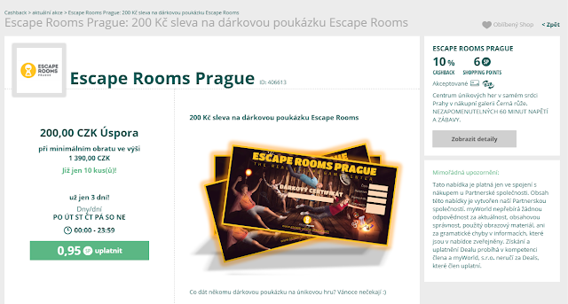 Cashback World - Shopping Points Deal - Escape Rooms Prague