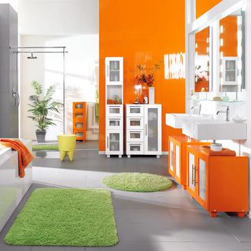 Great Un Bano Con Paredes En Naranja De Of Fotos De Ba Os Color Naranja Colores En Casa