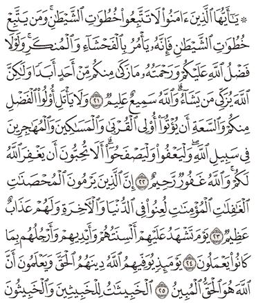 Tafsir Surat An-Nur Ayat 21, 22, 23, 24, 25