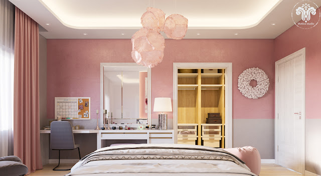 Quarto de casal rosa quartz, cinza e branco. Blog Achados de Decoração