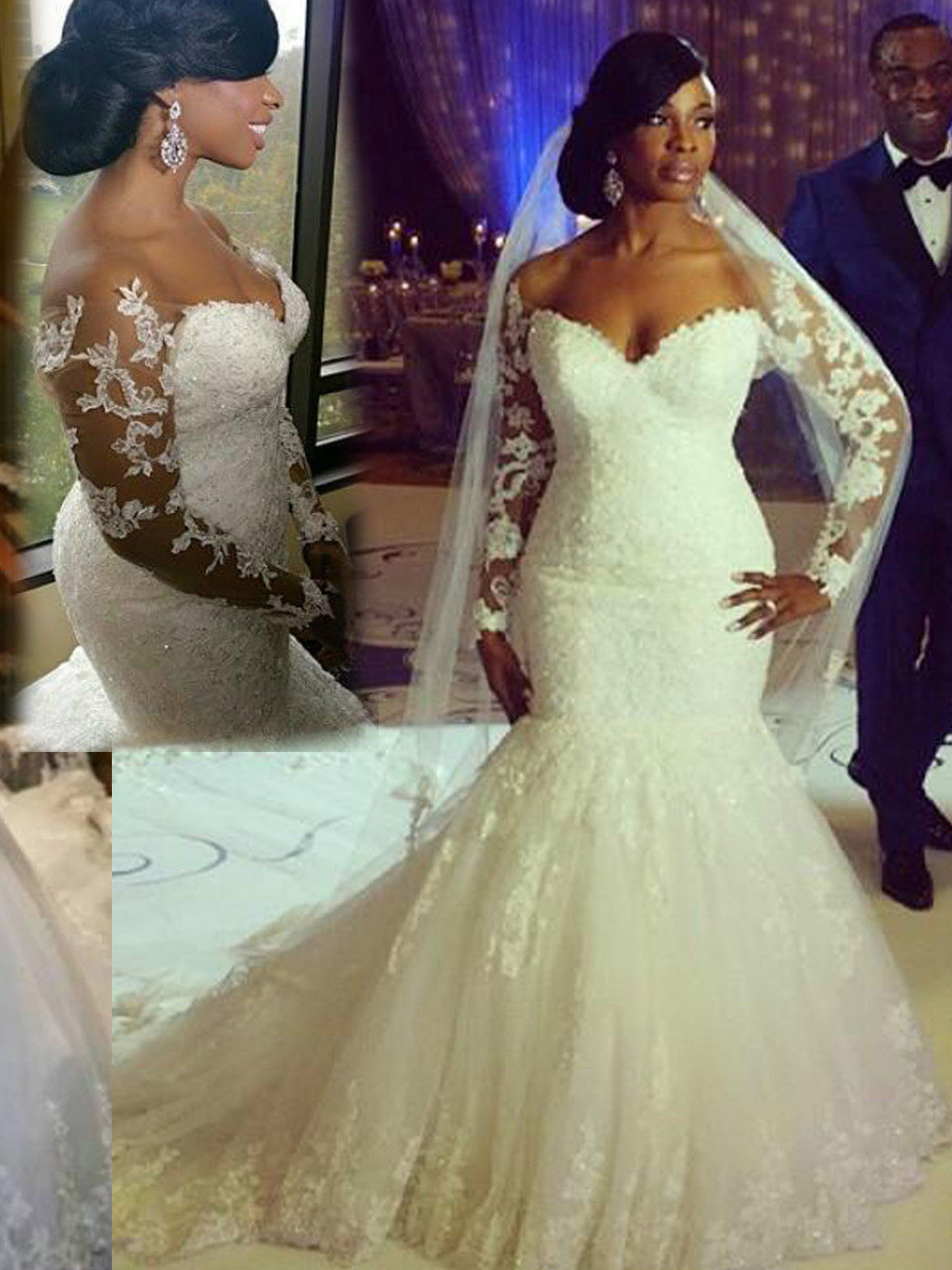 Sexy Plus Size Off-The-Shoulder Long Sleeve Lace Mermaid Wedding Dress