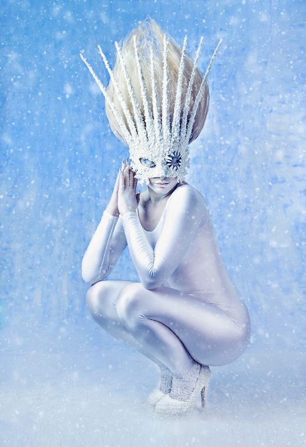 mystic magic, snow sprite, fashion, couture, masks, snow, winter, editorial, portrait, ice queen, snow queen, cold, winter fashion, winter, frosty tones, ice, creative makeup, designer, style, fashionista, bling, diamonds, fantasy, fairytale, photo, photography, featured, blue, avant garde, high fashion,