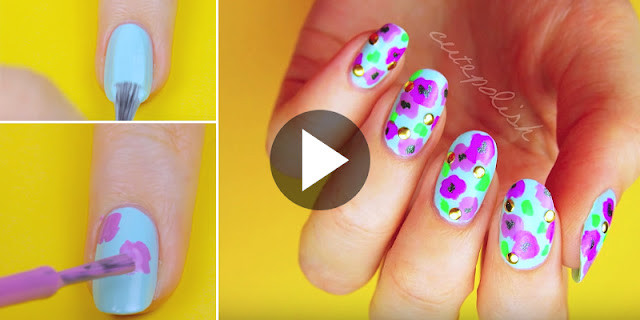 Learn - How To Create Bold Floral Nail Art, See Tutorial