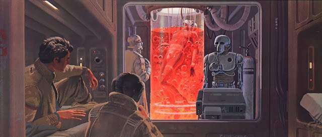 Luke in the bacta tank concept art from The Empire Strikes back