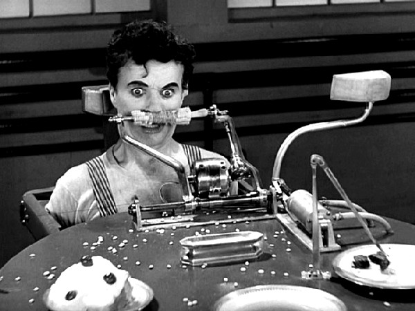 Charlie Chaplin, Modern Times, 1936, Eating and Force Feeding Machine