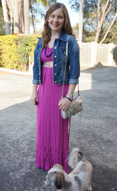 mothers en vogue havana pink maxi dress denim jacket LV scarf as belt spring brunch outfit | AwayFromBlue